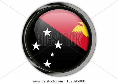 Papua New Guinea  Flag In The Button Pin Isolated On White Background