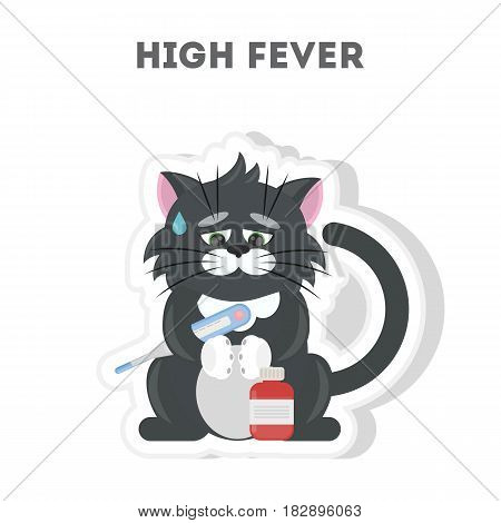 Cat with high fever. Isolated cute sticker on white background.