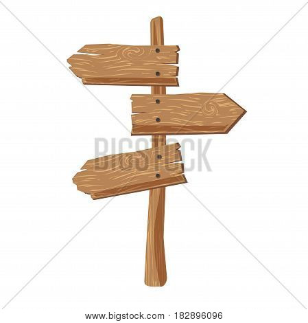 Three indexes showing in different directions attached on wooden stick on white background. Indications of right road, orientation in area. Vector illustration of route selection graphic icon.