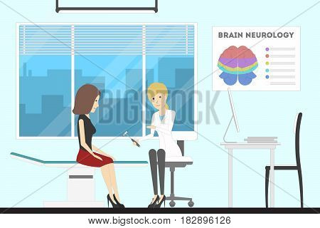 Brain doctor cabinet. Neurology department with patient.
