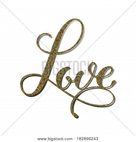 Vector word 'Love' with gold glitter effect. Handmade unique wedding romantic silhouette. A picture is suitable for printing, engraving, laser cutting paper, wood, metal, stencil manufacturing.