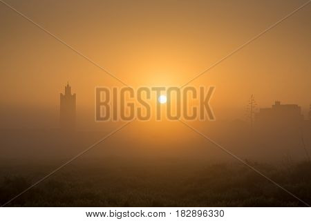Sunrise Over The Mosque In The Moroccan Village