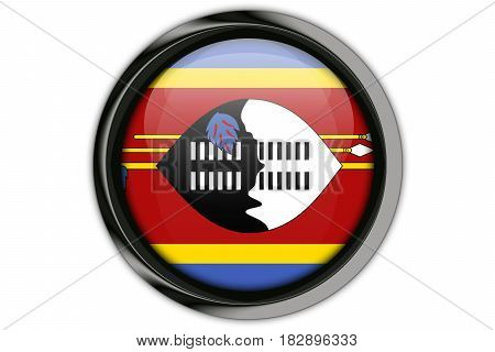 Swaziland Flag In The Button Pin Isolated On White Background