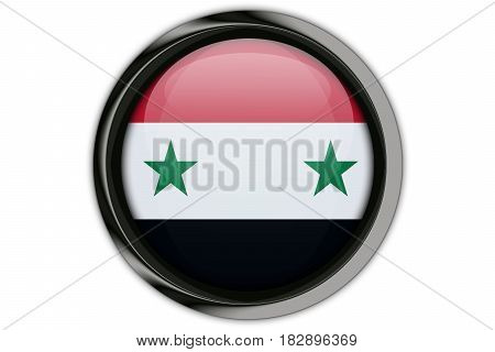 Syria Flag In The Button Pin Isolated On White Background