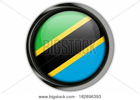 Tanzania  Flag In The Button Pin Isolated On White Background