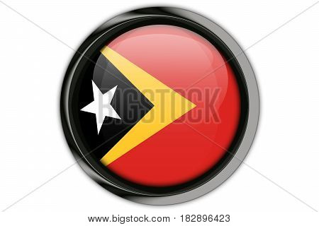Timor Leste  Flag In The Button Pin Isolated On White Background