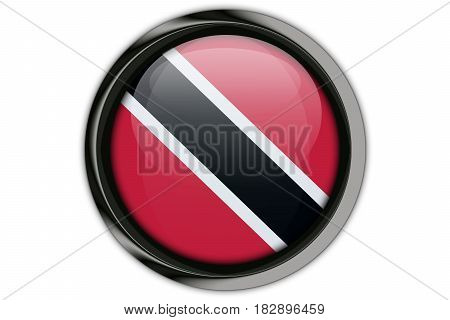 Trinidad And Tobago Flag In The Button Pin Isolated On White Background