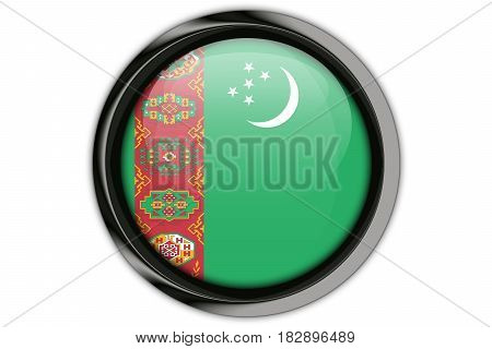 Turkmenistan Flag In The Button Pin Isolated On White Background
