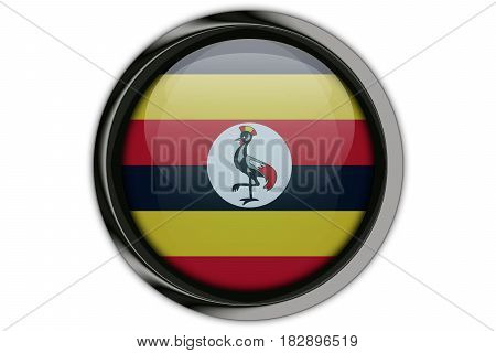 Uganda Flag In The Button Pin Isolated On White Background
