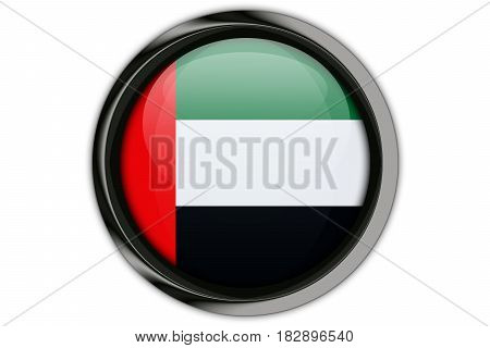 United Arab Emirates Flag In The Button Pin Isolated On White Background