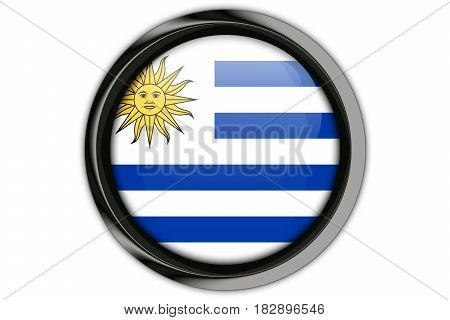 Uruguay Flag In The Button Pin Isolated On White Background