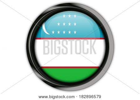 Uzbekistan Flag In The Button Pin Isolated On White Background