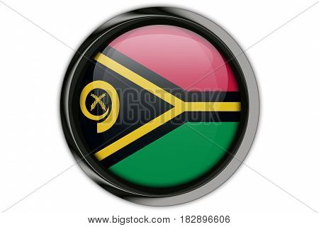 Vanuatu Flag In The Button Pin Isolated On White Background