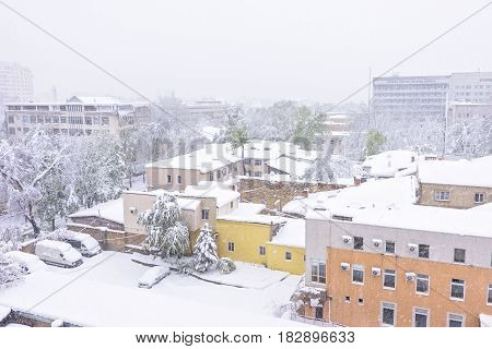 Heavy snow apocalypse in Moldova, frozen Chisinau city, on 20 and 21 of april 2017, spring anomaly, natural cataclysm, falling green trees disaster, general emergency state, exceptional situation