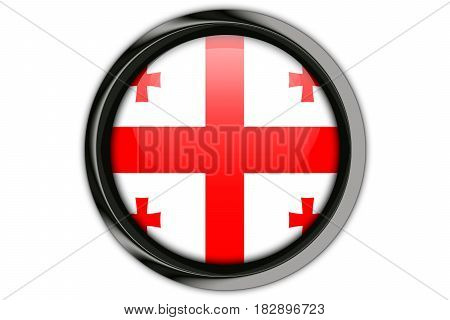 Georgia Flag In The Button Pin Isolated On White Background