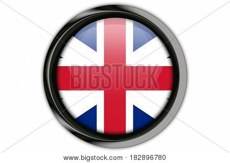 Great Britain Flag In The Button Pin Isolated On White Background
