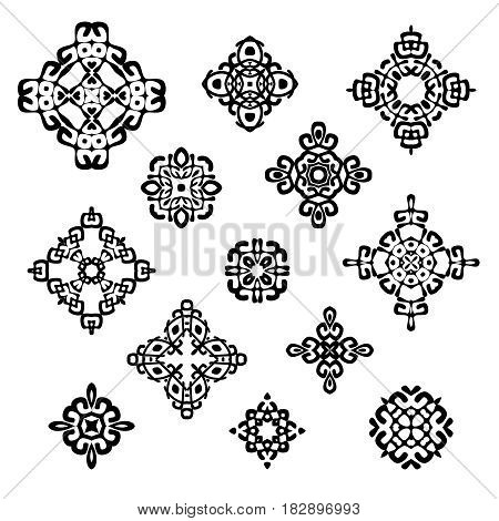 Set of different ethnic signs and design elements. Geometric patterns on white background. Vector illustration. Could be used for tattoo logo and icon design web-design decoration etc.