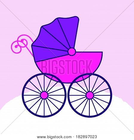 Baby carriage stroller. Flat design style icon. Pink baby's pram. Child transport. .Vector illustration for child's born card.