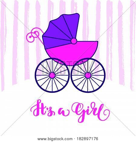 Baby carriage stroller. Pink baby's pram. Child transport. It's a boy lettering..Flat design card for baby shower. Vector illustration.