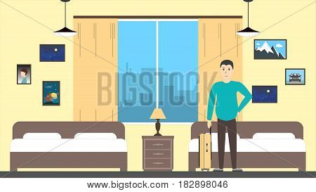 Man in motel room. Young man with luggage.
