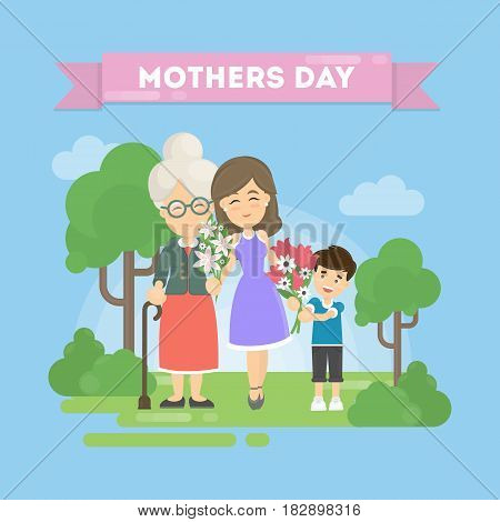 Mother's day greeting card. Grandmother, mother and son.
