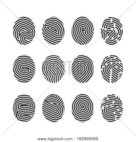 Finger print icons big set fingerprint symbol