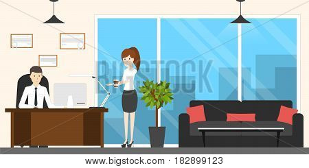 Boss at office. Young female secretary brings coffee.