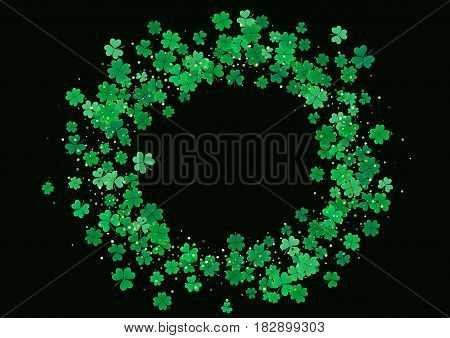 St. Patrick's Day blank background template with falling clover leaves isolated on a black background. Vector illustration.