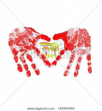 HandPrint of the child in the form of heart and family house
