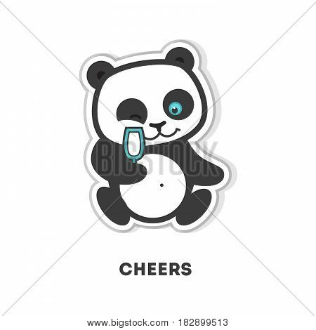 Cheers panda sticker. Isolated cute sticker on white background.
