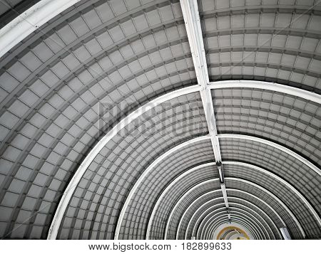 Selective focus on the ceiling of tunnel.