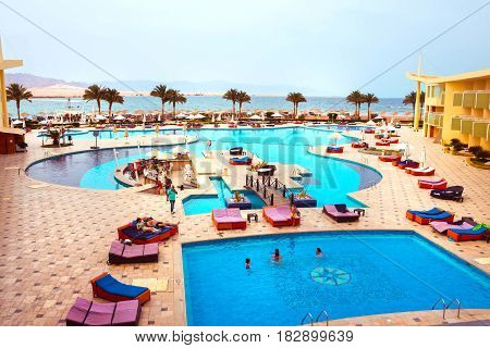Sharm El Sheikh, Egypt - April 9, 2017: The view of luxury hotel Barcelo Tiran Sharm 5 stars at day with blue sky at Sharm El Sheikh, Egypt on April 9, 2017