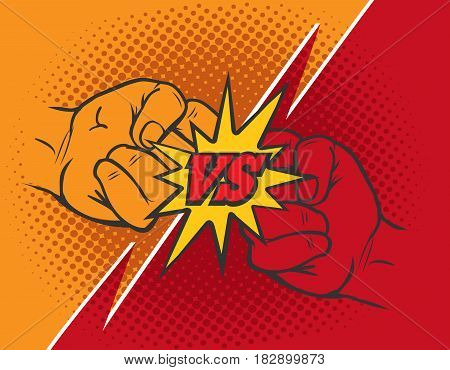 Versus rivalry fist vector background. Boxer punching or clashing fists for disagreement battle