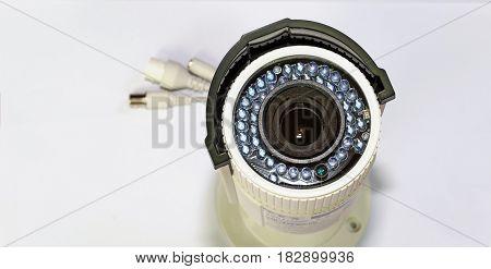 CCTV camera on white background soft focus selective focus.