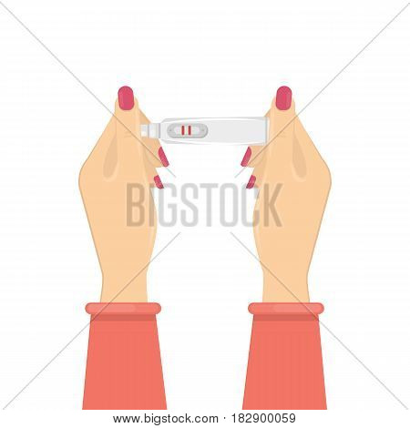 Woman with pregnancy test. Positive test with two red lines.