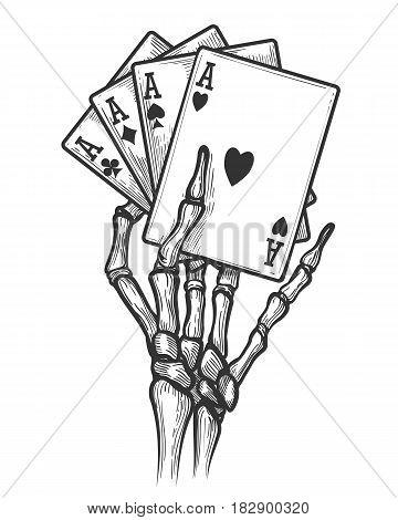 Black jack bones hand vector illustration. Engraving skeleton hand with four aces