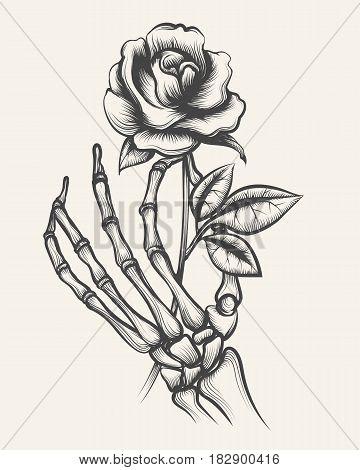 Handdrawn skeleton bones hand with rose flower engraved vector illustration
