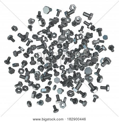 Nuts and bolts metal 3d illustration isolated horizontal over white