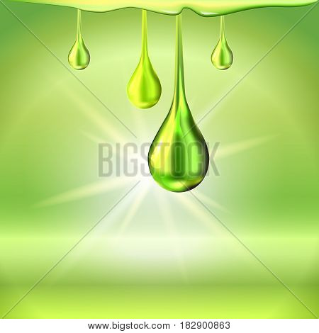 Green light shiny oil drops and empty place for objects. Gradient mesh. Cosmetic lotion or liquid. Vector illustration stock vector.