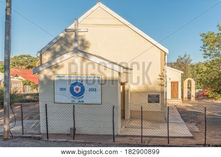 CALITZDORP SOUTH AFRICA - MARCH 25 2017: The Evangelical Lutheran Church in Calitzdorp a small town in the Western Cape Province