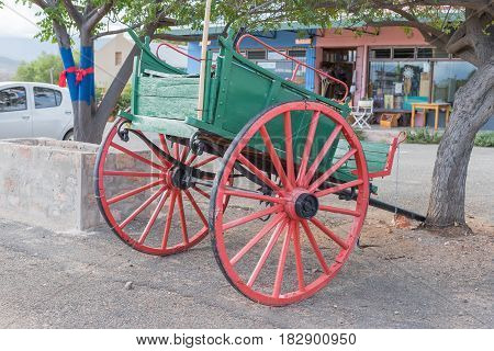 CALITZDORP SOUTH AFRICA - MARCH 24 2017: An historic old horse-drawn cart in Calitzdorp a small town in the Western Cape Province