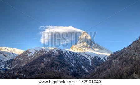 View of the famous mountain Matterhorn close to Zermatt, Switzerland