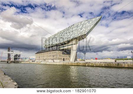 ANTWERP, BELGIUM - APRIL 22, 2017: New office port in the harbor of Antwerp, Belgium,