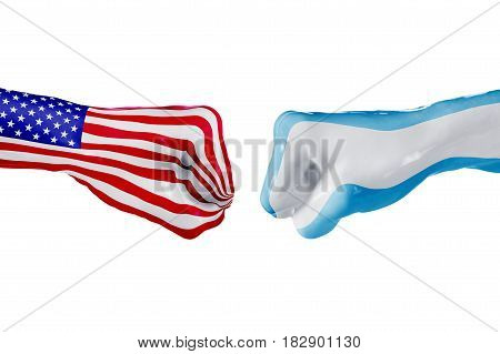 USA and Argentina country flag. Concept fight war business competition conflict or sporting events isolated on white, 3D illustration