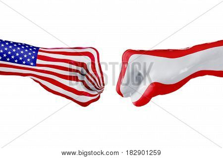 USA and Austria country flag. Concept fight war business competition conflict or sporting events isolated on white, 3D illustration