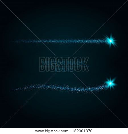 Magical blue stripes of bright and small particles on a dark background. Shining stars in motion. Pattern of highlights. A flying comet. Vector illustration. Bright flashes. EPS 10