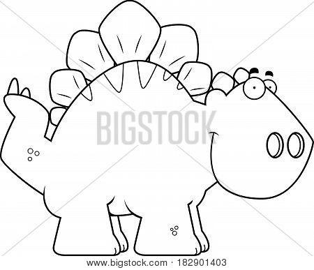 Smiling Cartoon Stegosaurus