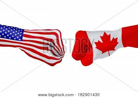 USA and Canada country flag. Concept fight war business competition conflict or sporting events isolated on white, 3D illustration