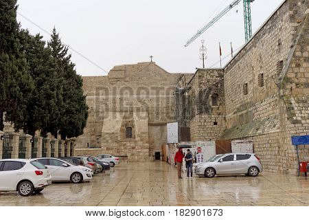 Bethlehem, Israel. - February 15.2017. The Church of the Nativity in Bethlehem, built over the birthplace of Jesus Christ. Along with the Church of the Holy Sepulcher is one of the two main Christian churches of the Holy Land.