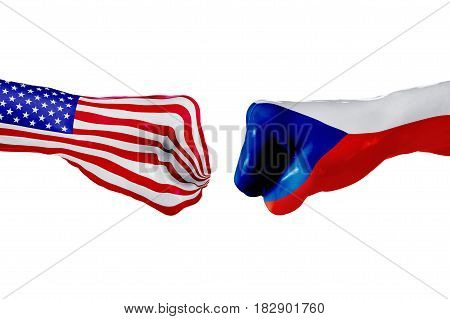 USA and Czech republic country flag. Concept fight war business competition conflict or sporting events isolated on white, 3D illustration